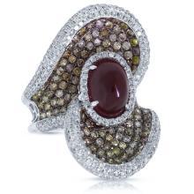 Genuine 3.54ct White & Fancy Color Diamond & 4.09ct Ruby Ring 18K White Gold - REF#P351R5