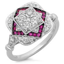 Natural 0.96 ctw Diamond & Ruby Ring 14KT White Gold - SKU#-H134E1-S8011