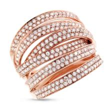 Genuine 1.65ct Diamond Ring 14K Rose Gold - REF#N233A2