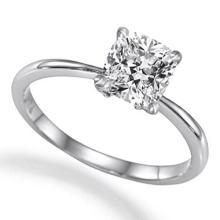 18K White Gold Ring EGL Certified 1.02ct Cushion Diamond (D-SI2) - REF#- M267U8- BR837211