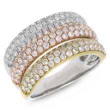 Genuine ?1.88ct Diamond Ring 14K 3-Tone Gold - REF#K202G6