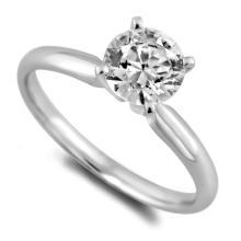 14K White Gold Ring EGL Certified 0.96ct Round Brilliant Diamond (G-SI1) - REF#- H297Z4- BR837462