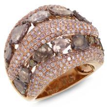 Genuine 4.41ct White & Fancy Color Diamond Ring 18K Rose Gold - REF#M273F8