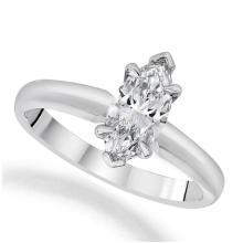 14K White Gold Ring EGL Certified 0.76ct Marquise Diamond (G-VS1) - REF#- U161L8- BR837316