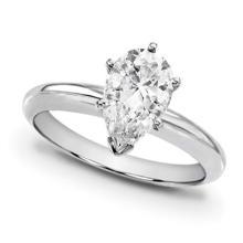 18K White Gold Ring EGL Certified 1ct Pear Diamond (F-SI3) - REF#- W231E6- BR825382