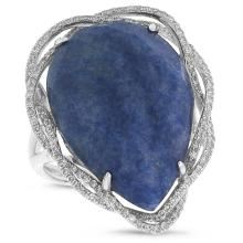 Natural 16.15 ctw Diamond & Blue Aventurine Ring 14KT White Gold - SKU#-X60Y1-S8089