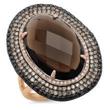 Natural 13.37 ctw White, Champagne & Black Diamond & Smokey Topaz Ring 14KT Rose Gold - SKU#-K111G3-S8081