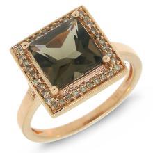 Natural 2.4 ctw Diamond & Smokey Topaz Ring 14KT Rose Gold - SKU#-Z38U3-S8099