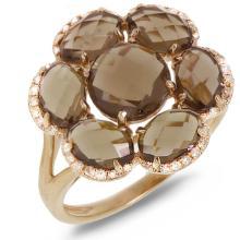 Natural 3.94 ctw Diamond & Smokey Topaz Ring 14KT Rose Gold - SKU#-X31Y1-S8137