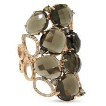 Natural 13.71 ctw White & Champagne Diamond & Smokey Topaz Ring 14KT Rose Gold - SKU#-C77T2-S8084