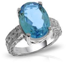 14KT White Gold 8 ctw Blue Topaz Ring -REF#- T73M9- 95275