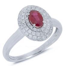 Natural 0.85 ctw Diamond & Ruby Ring 14KT White Gold - SKU#-U81Z1-S8025