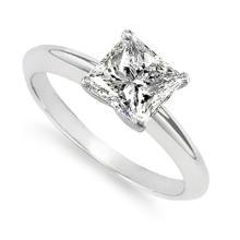 18K White Gold Ring EGL Certified 0.95ct Princess Diamond (H-SI2) - REF#- R237H7- BR832697