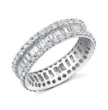Natural 2.81 ctw Diamond Eternity Ring 14KT White Gold Sz6.5 - SKU#-N319W3-S8208