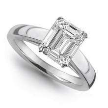 18K White Gold Ring EGL Certified 1ct Emerald Diamond (G-VS1) - REF#- Z332F4- BR837256