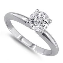14K White Gold Ring EGL Certified 1.23ct Round Brilliant Diamond (D-SI2) - REF#- G444P7- BR837376