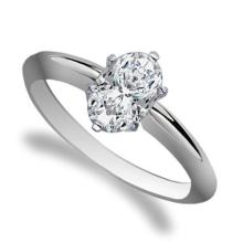 18K White Gold Ring EGL Certified 1.2ct Oval Diamond (D-SI2) - REF#- R350Q8- BR836292