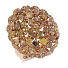 Genuine 2.81ct Fancy Color Diamond Ring 18K Rose Gold - REF#Y256J9