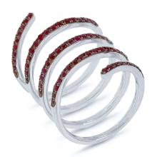 Natural 1.09 ctw Ruby Ring 14KT White Gold - SKU#-E58N1-S8048