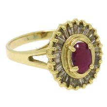 Natural 1.80 ctw Diamond & Ruby Ring 14KT Yellow Gold - SKU#-G52K3-S8050