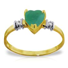14KT Yellow Gold 1.03 ctw Emerald & Diamond Ring - REF#- N22R0- 84393