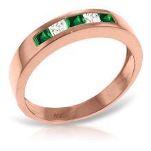 14KT Rose Gold 0.63 ctw Emerald & White Topaz Ring -REF#- L28K8- 74338