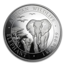 Fine Silver - 1 kilo - 2015 Somali Elephant BU