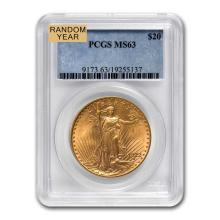 MS-63 PCGS $20 St. Gaudens Gold Double Eagle (Random Year)