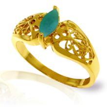 14KT Yellow Gold 0.2 ctw Emerald Ring -REF#- Q28W4- 94621