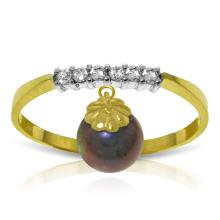 14KT Yellow Gold 2.1 ctw Black Pearl & Diamond Ring - REF#- F19V7- 92859