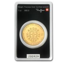 Fine Gold Round 1 oz - Argor-Heraeus KineRound Design (In Assay) - BRA#147780