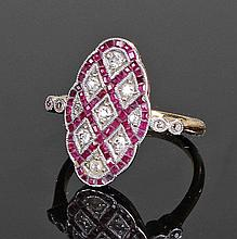 Art Deco 18 carat gold ruby and diamond ring, the