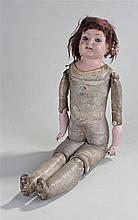 Early 20th Century bisque doll, the bisque head wi