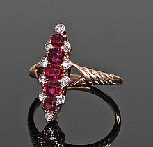 Unusual 18 carat gold diamond and ruby set ring. W