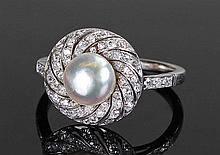 White metal natural pearl and diamond set ring, th