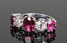 Fine ruby and diamond ring, the white metal shank