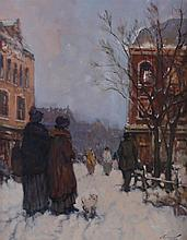 Ken Moroney (b.1949) ladies on a snowy street with