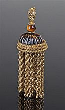 19th Century tigers eye and yellow metal watch fob