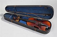 Cased violin, with a  Stradivarius label internall