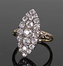 Victorian diamond cluster ring, the unmarked yello