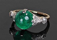 Colombian emerald and diamond set ring, the caboch
