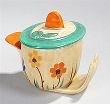 Myott & Son Art Deco jam pot, the oval lid and bod