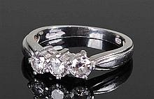 Platinum and diamond set ring, the ring set with t