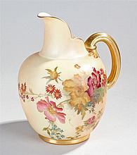 Royal Worcester flat back jug, decorated with flow
