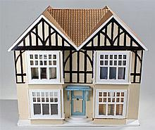 Mid 20th Century dolls house, painted in cream and