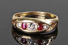 Diamond and ruby ring. The three rose cut diamonds