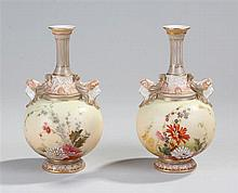 Pair of Royal Worcester vases. The blush vases wit