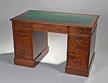 20th Century mahogany twin pillar writing desk, th