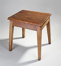 Pine stool, the rectangular top above tapering leg
