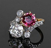 Striking ruby and diamond ring, the Thailand ruby